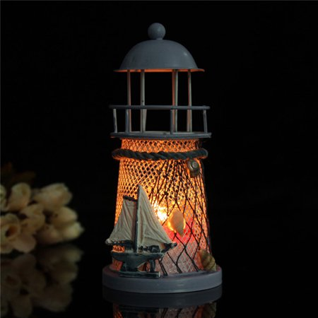 - Mediterranean Style Lighthouse Candle Holder Candlestick Vintage Home Decor Iron 5.7x2.6