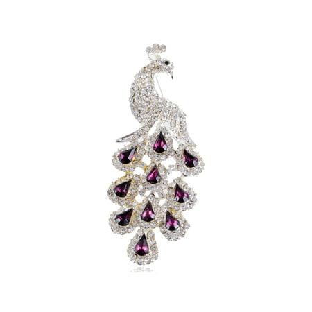 Gorgeous Purple Crystal Rhinestone Peacock Bird Fashion Jewelry Pin Brooch