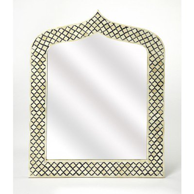 Butler Transitional Bone Inlay Arch Crown Top Off White Mirror 5201318