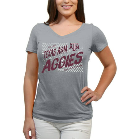 Texas A&m Aggies University (Texas A&M Aggies Scatter Doodle Women'S/Juniors Team Short Sleeve V Neck Tee Shirt)