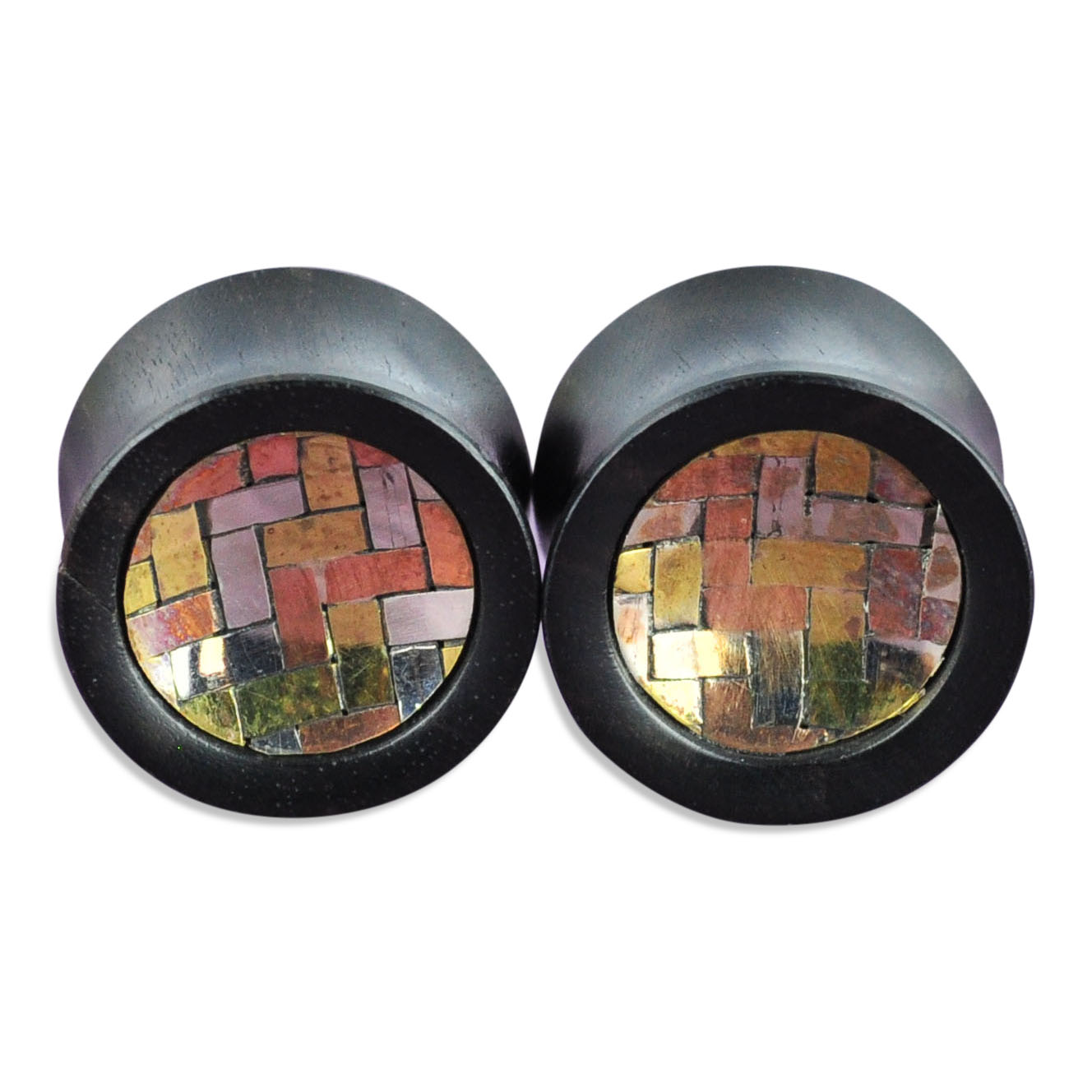 Black Areng Wood Plugs with Silver, Brass, and Copper Inlay Ear Gauges
