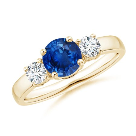 September Birthstone Ring - Classic Blue Sapphire and Diamond Three Stone Engagement Ring in 14K Yellow Gold (6mm Blue Sapphire) - SR0160S-YG-AAA-6-9.5