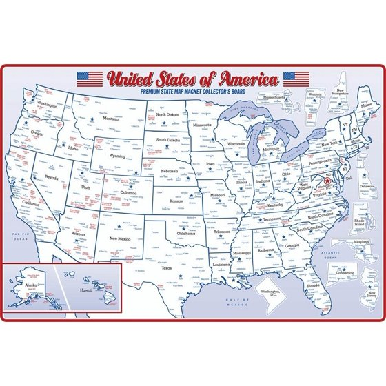 United States Map Magnets.State Magnet Collectors Map Board Double Sided For Small And Medium