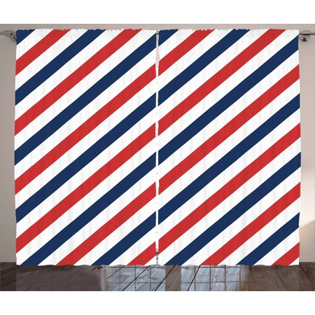 Harbour Stripe Curtains 2 Panels Set, Vintage Barber Pole Helix of Colored Stripes Medieval Contrast Design, Window Drapes for Living Room Bedroom, 108W X 84L Inches, Blue Red White, by Ambesonne