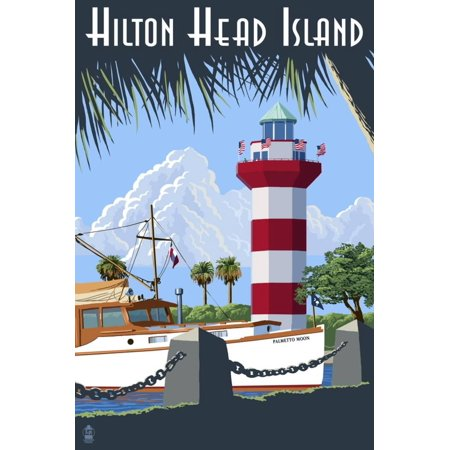 Harbor Town Lighthouse (Hilton Head Island, SC - Harbour Town Lighthouse Coastal South Carolina Travel Advertisement Print Wall Art By Lantern)