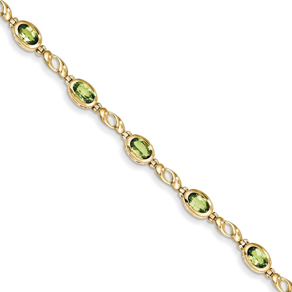 """14K Yellow Gold Peridot Bracelet -7"""" (7in x 6mm) by"""