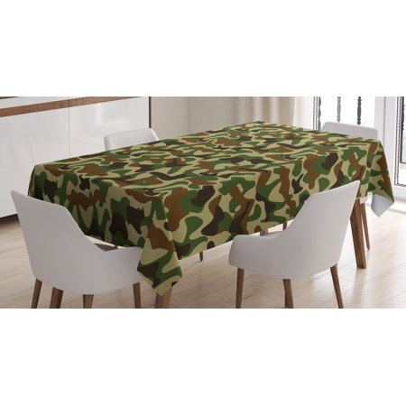Camouflage Tablecloth, Military Squad Unit Uniform Design with Vivid Color Scheme Hunting Camo, Rectangular Table Cover for Dining Room Kitchen, 52 X 70 Inches, Green Brown Khaki, by Ambesonne