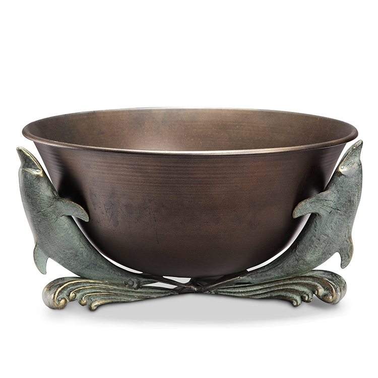 Antiqued Copper Finish Beverage Tub with Dolphin Trio Stand