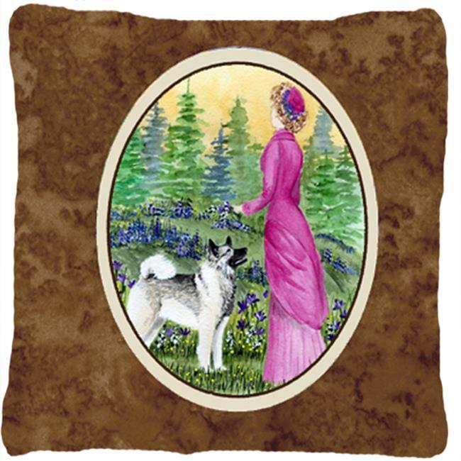 Carolines Treasures SS8154PW1414 Lady With Her Norwegian Elkhound Indoor & Outdoor Fabric Decorative Pillow - image 1 of 1