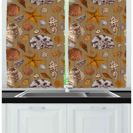 Ocean Curtains 2 Panels Set, Underwater Starfish Shell Mollusk Seaurchin Sea Horse Pearl Illustration, Window Drapes for Living Room Bedroom, 55W X 39L Inches, Ginger Cinnamon Cocoa, by Ambesonne