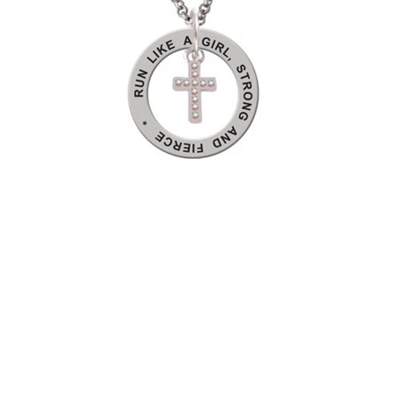 Silvertone Small AB Crystal Cross Run Like A Girl Affirmation Ring - Crystal Cross Necklace