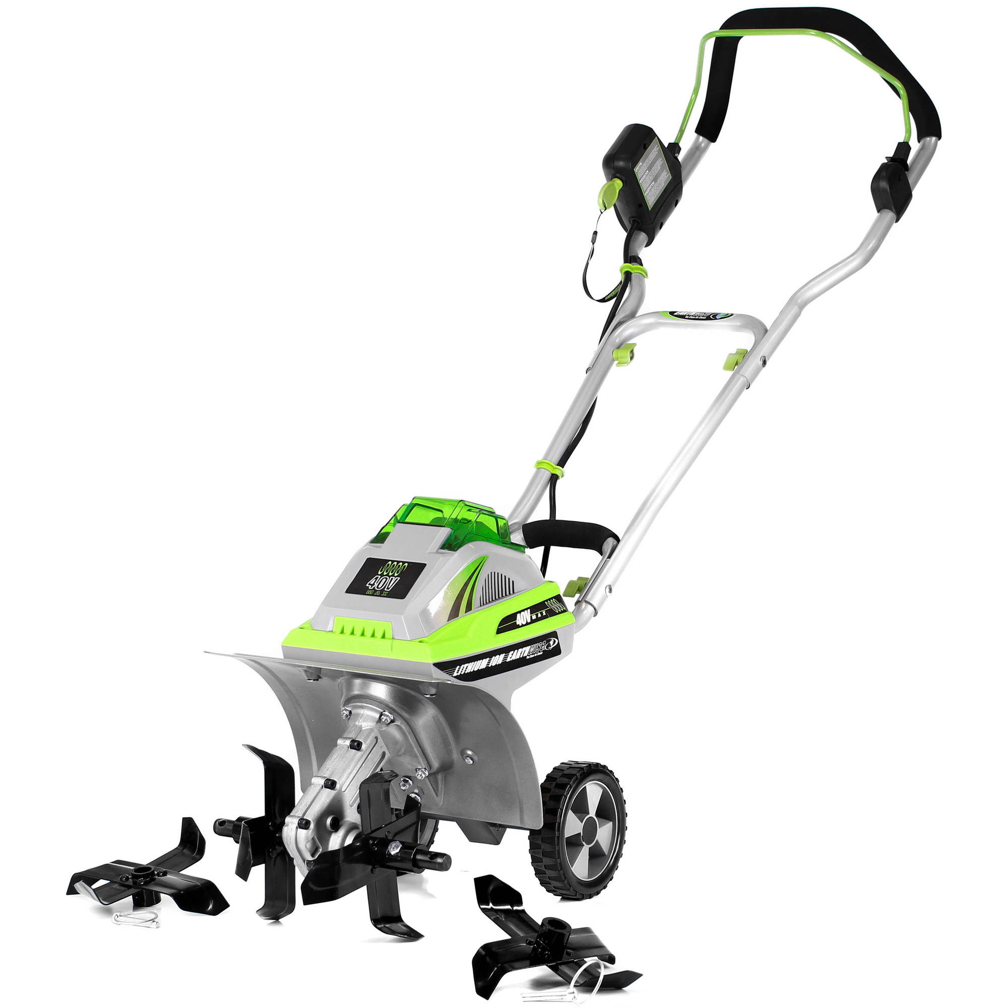 """Earthwise TC70040 11"""" 40 Volt Lithium Ion Cordless Electric Tiller/Cultivator with Adjustable Tines"""