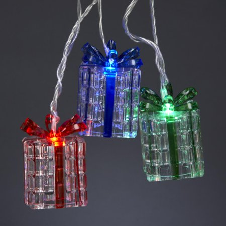 set of 10 battery operated red green and blue led present gift christmas lights