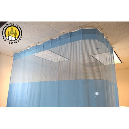 DevLon NorthWest Medical Curtains Privacy Hospital Cubicle Curtain With Flexible Track 10 Foot W x 9.3 Foot H Light Blue ()
