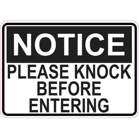 5in x 3.5in Notice Please Knock Before Entering Sticker Vinyl Door Sign - Vinyl Signs