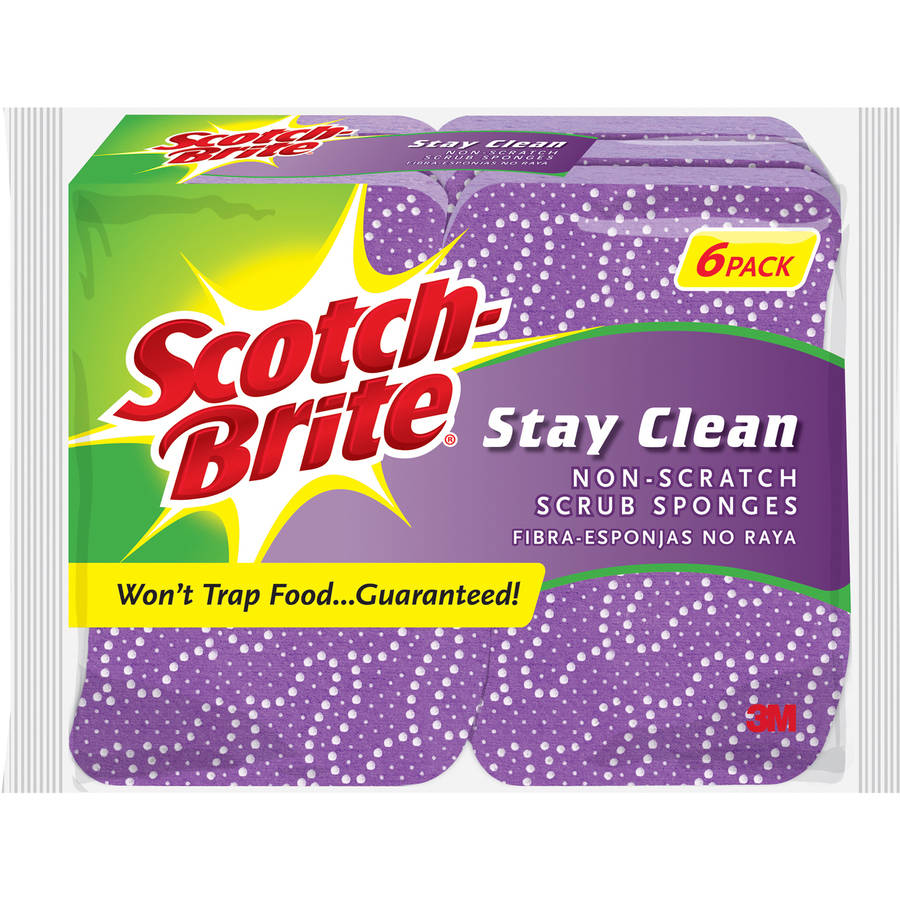 Scotch-Brite Stay Clean Non-Scratch Scrub Sponges, 6 count