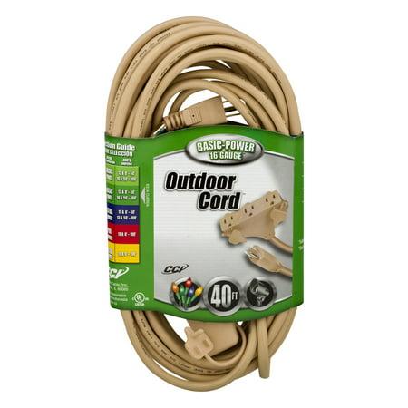 Coleman Cable 16/3 Tri-Source Outdoor Landscape/Deck/Patio Outdoor Extension Cord, Beige, 40-Foot