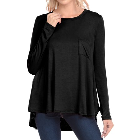 Basico Comfy Loose Fit Long Sleeve Crew Neck Knit T-Shirts with Pocket