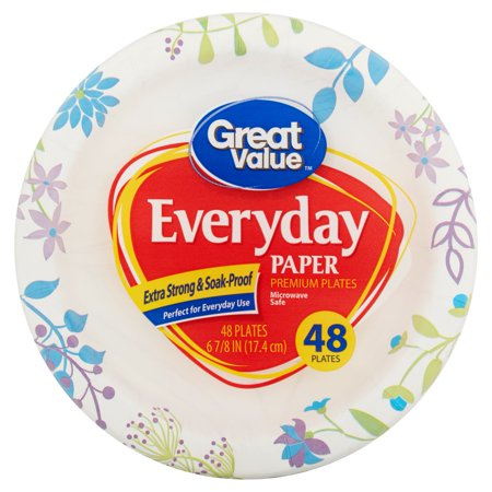 Great Value Everyday Paper Snack/Dessert Plates, 6u0022, 48 Count
