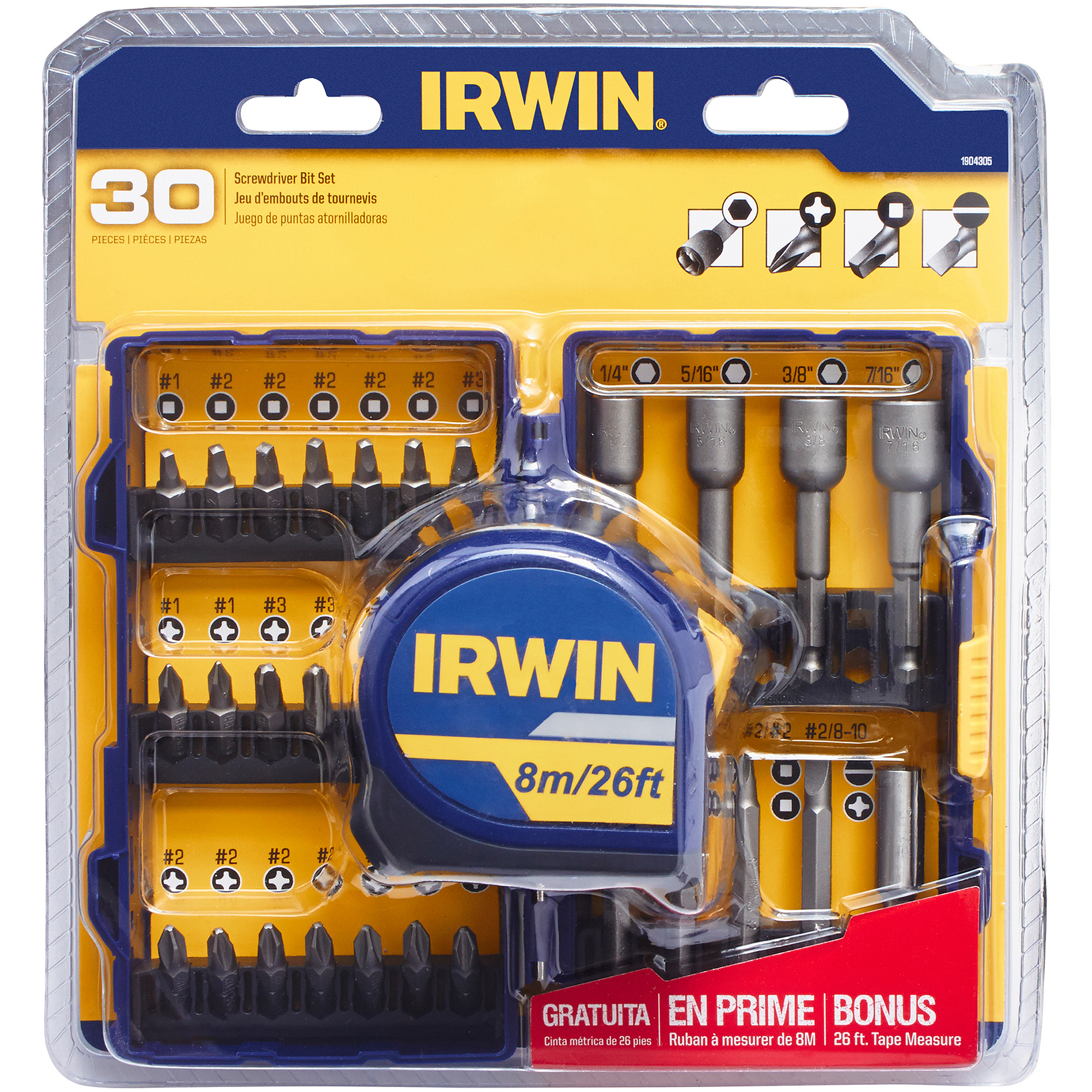 Irwin 30-Piece Screwdriver Set with Bonus Tape Measure, 1904305