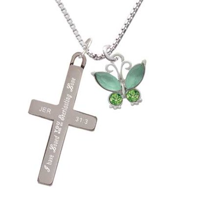 Silvertone Butterfly with Green Wings - Everlasting Love - Cross