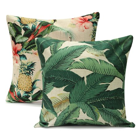Meigar Tropical Banana Green Leaves Decorative Throw Pillow Case Cushion Cover Clearance 18x18 inch Square Zipper Waist Pillowcase Pillow Protector Slip Cases Sham for Couch Sofa - Green Square Cushion Pillow