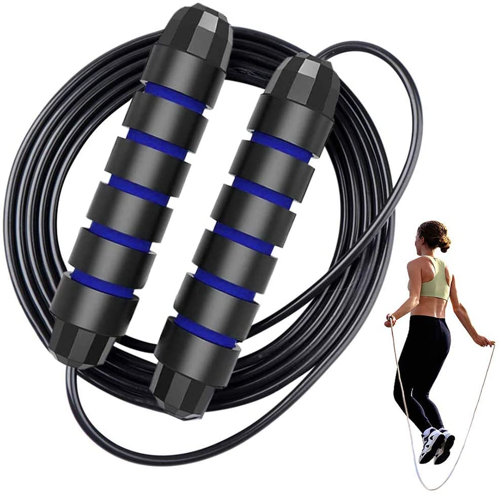 Adjustable Skipping Rope 2 Pack Men and Children Family Jump Rope for Exercise Fitness-Free with Ball Bearing Cable Speed Rope with Foam Handle Indoor and Outdoor Suitable for Gym Ladies