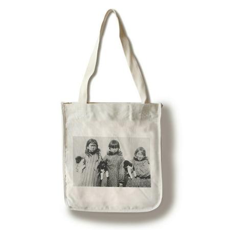 Eskimo Girls with Husky Puppies Photograph (100% Cotton Tote Bag - Reusable) - Eskimo Girl