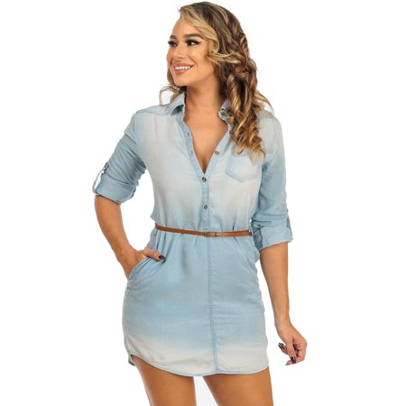 Womens juniors light blue long sleeve belted tunic shirt for Is a tunic a dress or a shirt