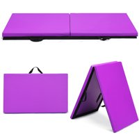 "Costway 6' x 2"" Gymnastics Mat Thick Two Folding Panel Gym Fitness Exercise Purple"