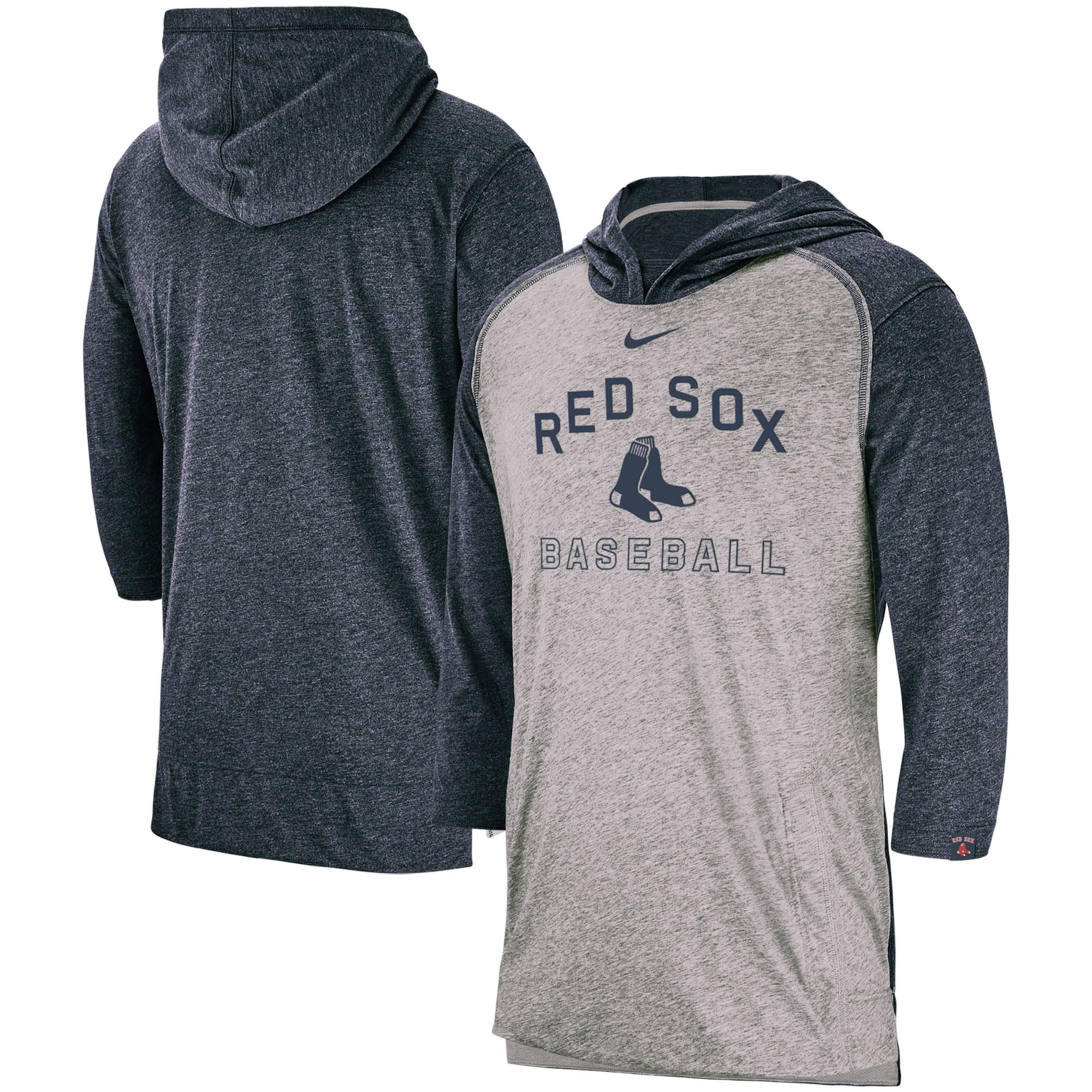Boston Red Sox Nike Flux Performance 3/4-Sleeve Pullover Hoodie - Heathered Gray