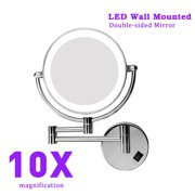 8 Inch Two-Sided LED Swivel Lighted Wall Mount Makeup Mirror with 10X Magnification Chrome Finish