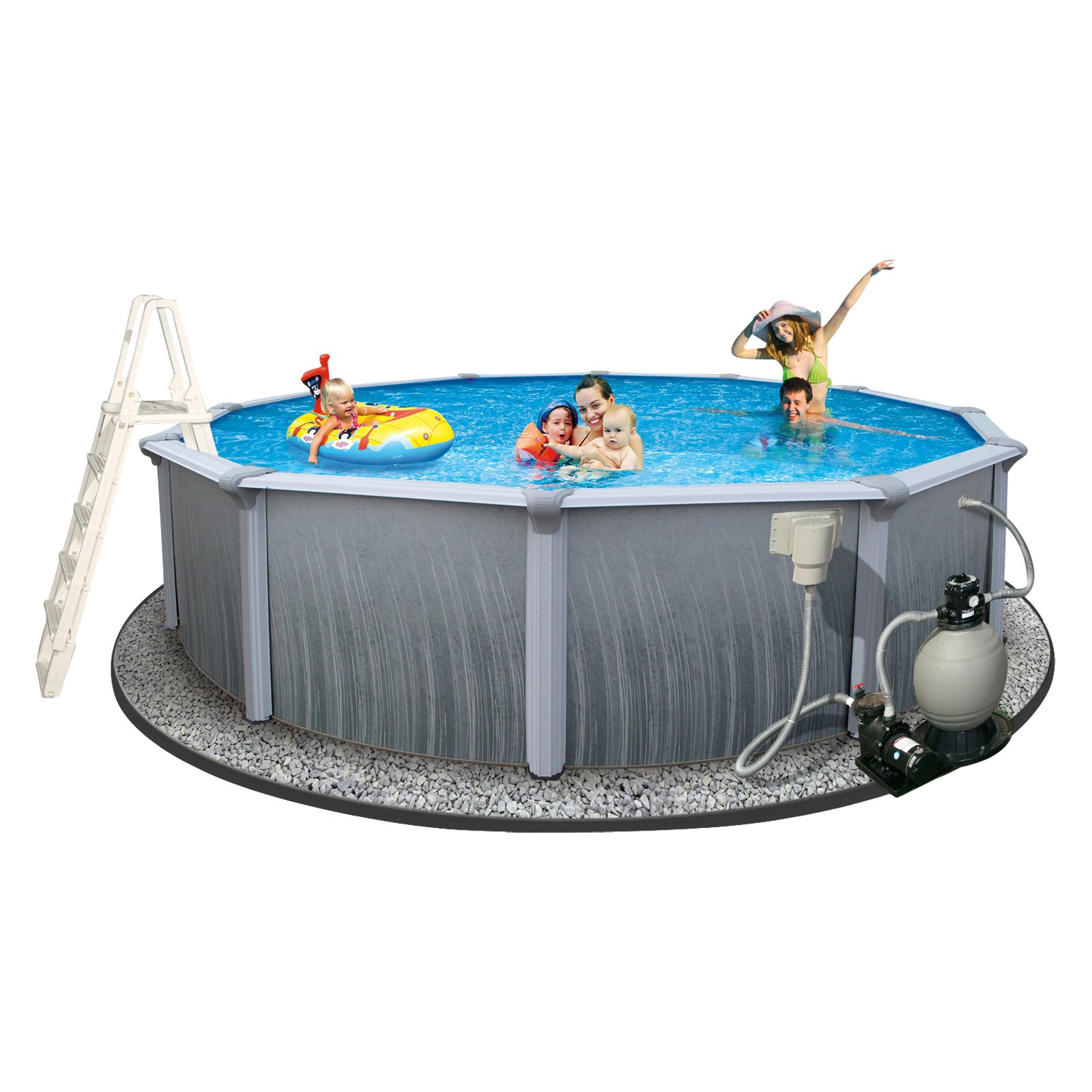 """Blue Wave Oval 33' x 18' x 52"""" Deep Martinique 7"""" Top Rail Metal-Walled Swimming Pool"""