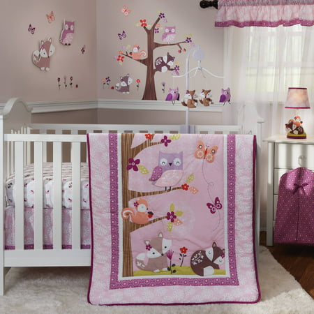Baby Girl Crib Bedding Sets - Lambs & Ivy Bedtime Originals Lavender Woods 3 Piece Crib Bedding Set