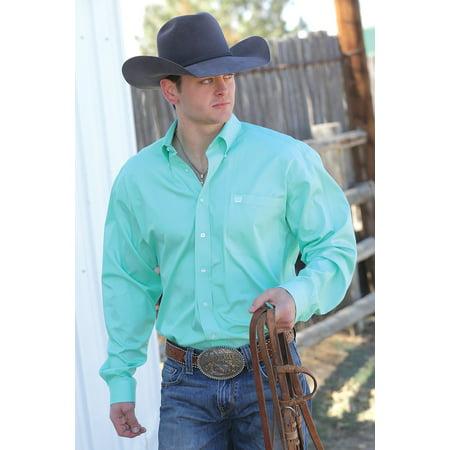 - CINCH Men's Long Sleeve Button Down Shirt Solid Green Classic Fit Plain Weave