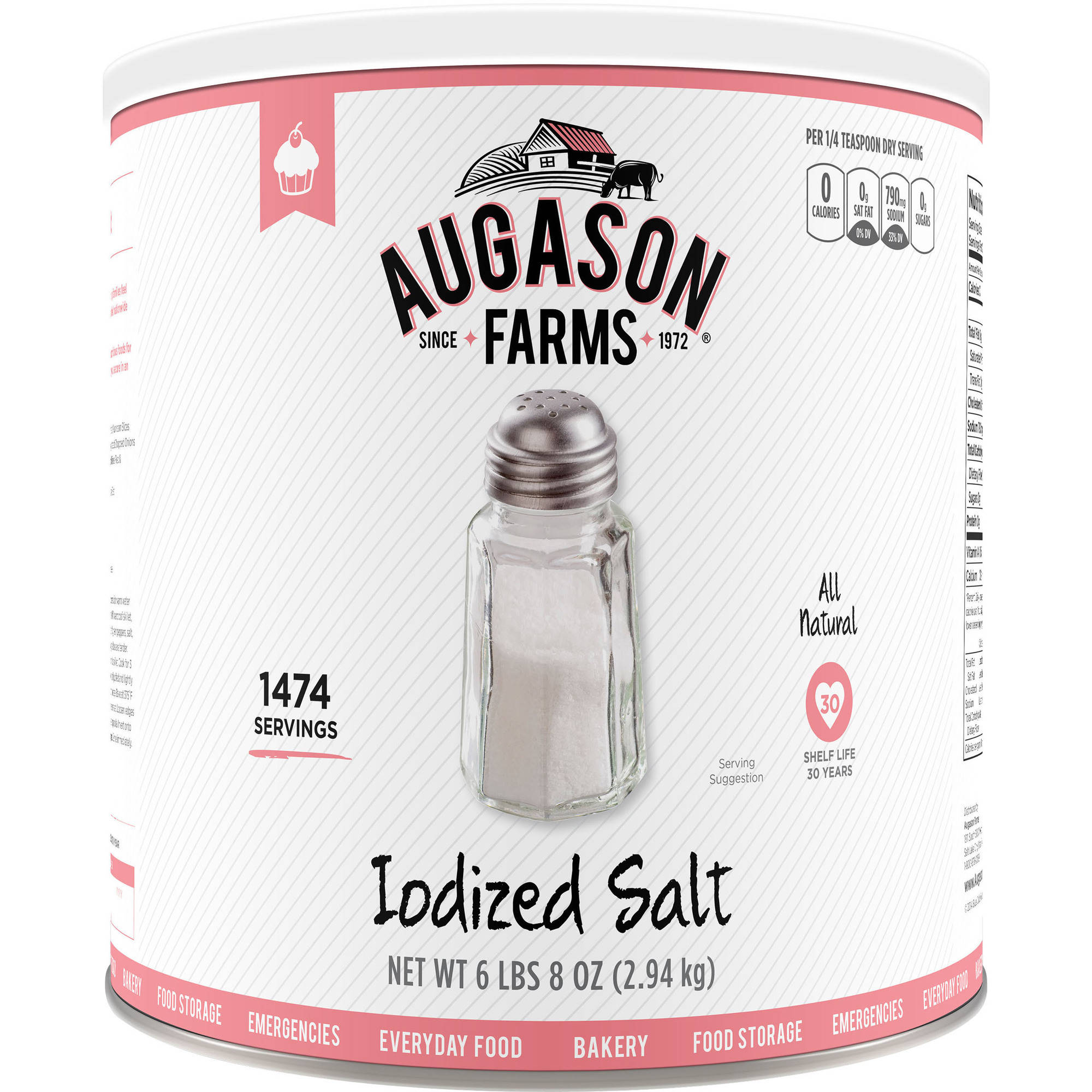 Augason Farms Iodized Salt, 104 oz