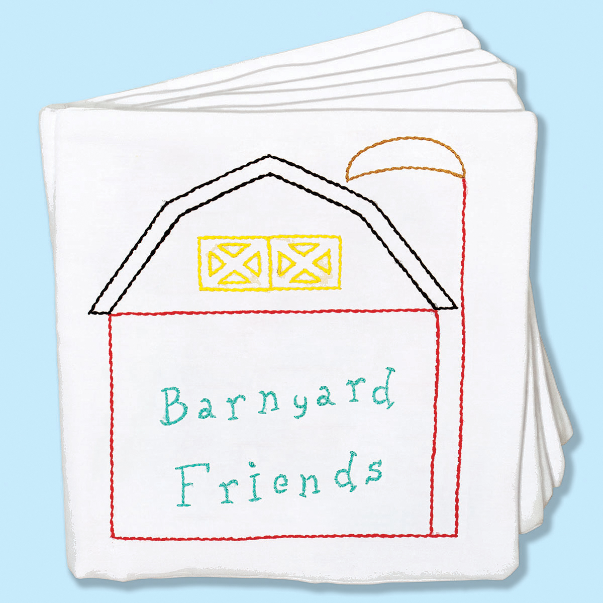 """Stamped Cloth Nursery Books 8""""X8"""" 12 Pages-Barnyard Friends"""