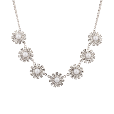 Pave Crystal Flower (Lux Accessories Bridal Pave Crystal Flower Faux Pearl Statement Necklace )