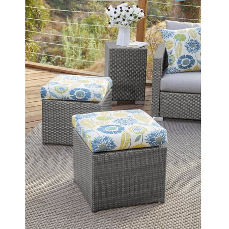 Stupendous Havenside Home Stillwater Grey Rattan And Aluminum Outdoor Ottoman Set Gmtry Best Dining Table And Chair Ideas Images Gmtryco