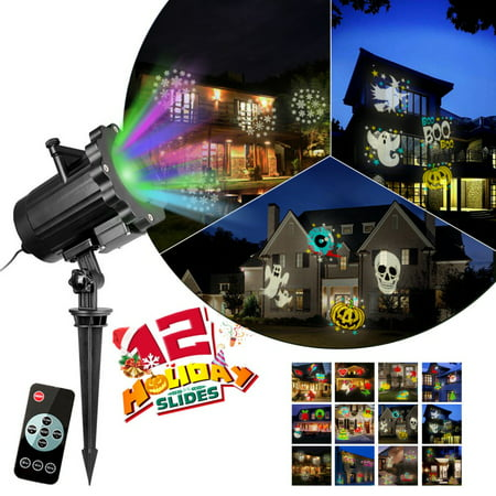 Holiday Projector Lights Christmas Halloween 12 Switchable Patterns Slides Landscape Motion Projector Lights with Remote Control ()