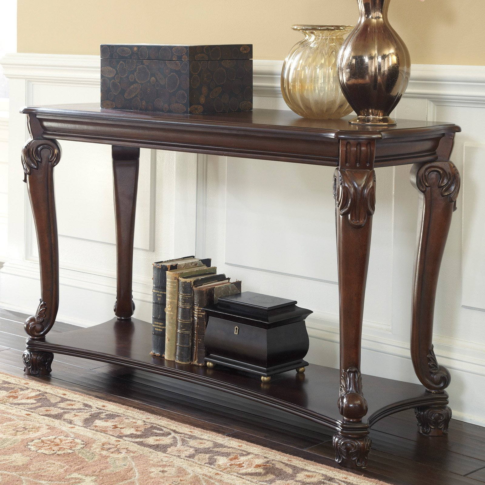 Signature Design By Ashley Norcastle Rectangular Brown Sofa Table