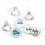 Hello Little One - Blue and Silver - Boy Baby Shower Round Candy Stickers - Labels Fit Hershey's Kisses (1 sheet