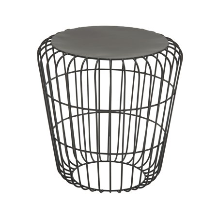 Decmode Modern 18 x 17 Inch Black Metal Cage Design Accent Table ()