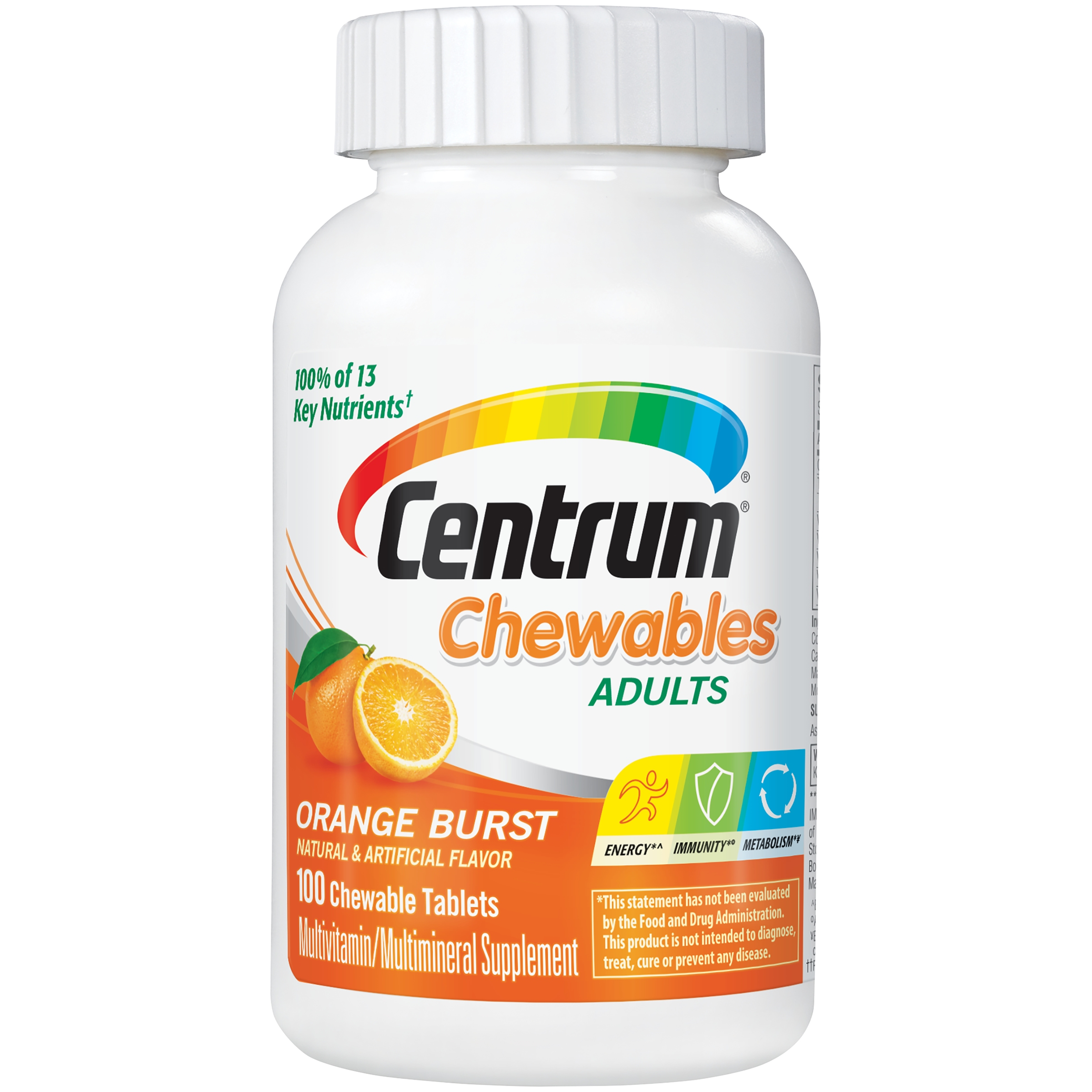 Centrum Chewables Adults Multivitamin/Multimineral Supplement Orange Burst Chewable Tablets 100 ct Bottle