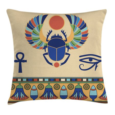 Egyptian Throw Pillow Cushion Cover, Ancient Antique Historical Culture Icon of Scarab Eye of Ra Horus with Ornaments, Decorative Square Accent Pillow Case, 18 X 18 Inches, Multicolor, by - Juicy Couture Antique