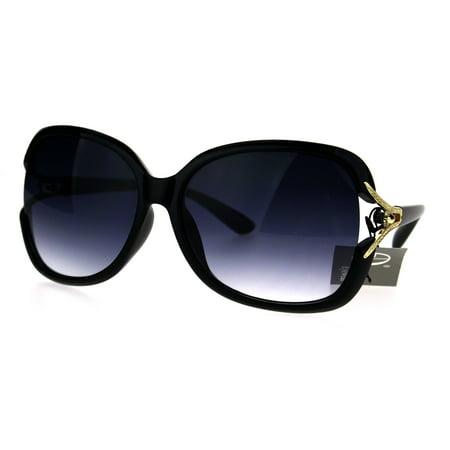 - Womens Large Plastic Diva Jewel Hinge Designer Fashion Sunglasses Black Smoke