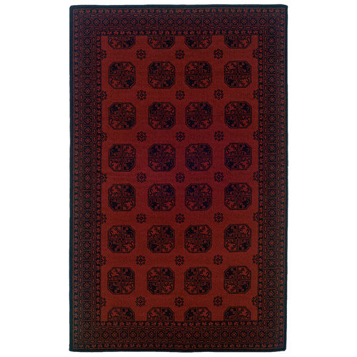 Linon Rugs Gem Buchara Red Geometric Area Rug