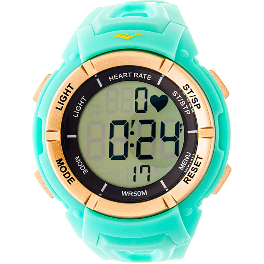 Everlast HR3 Heart Rate Monitor Watch with Continuous Readout and Transmitter Belt, Turquoise Plastic Band