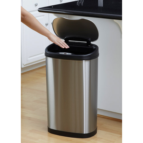 Nine Stars 13.2-Gallon Stainless Steel Oval Sensored Trash Can with Stainless Steel Lid
