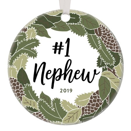Nephew Gifts Christmas Ornament 2019 Holiday Keepsake Child Teen Birthday Graduation Present from Aunt Uncle Newborn Baby Boy Shower Baptism Rustic Woodland Floral Porcelain Decorations 3